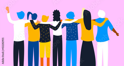 Photo Flat illustration about friendship, bond, diversity, inclusion and togetherness without any difference