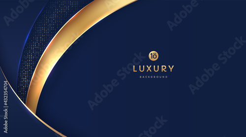 Dark navy blue and gold curve shapes on background with glowing golden striped lines and glitter. Luxury and elegant. Abstract template design. Design for presentation, banner, cover. EPS10 vector