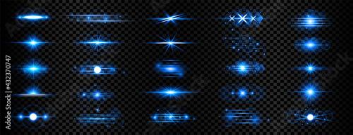 Fotografie, Tablou blue transparent light effect lens flare mega collection