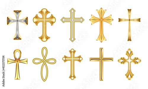 Leinwand Poster Christian religious decorative golden crosses set