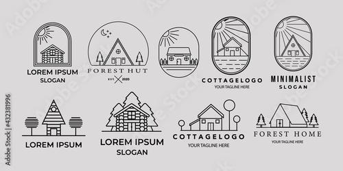 Obraz na plátně set of cottage or house line art minimalist simple vector logo icon illustration