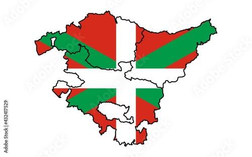 Mapa del País Vasco o Euskadi con las provincias de Guipúzcoa, Donostia, Vizcaya y Bilbao y la bandera de la Ikurriña de fondo