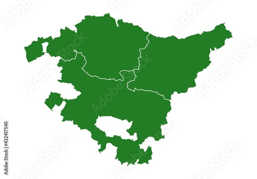 Mapa del País Vasco o Euskadi con las provincias de Guipúzcoa, Donostia, Vizcaya y Bilbao. Silueta del mapa del País Vasco en verde