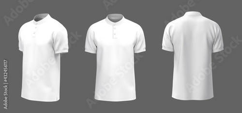 Fotografering Blank mandarin collar t-shirt mockup in front, side and back views, tee design p