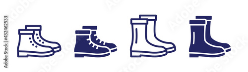 Fotografiet Collection of boots footwear icons