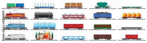 Fotografie, Obraz Set of train cargo wagons, cisterns, tanks and cars