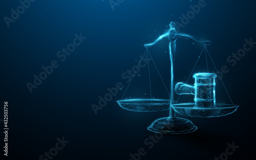 Fotografia Scale icon Hammer of Justice in the Law and Justice