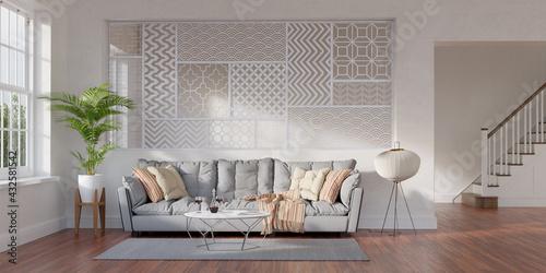 Obraz na plátně Large living room loft, bright, sunny interior