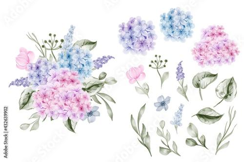 Obraz na plátne set of flower hydrangea blue pink and leaf isolated clip-art