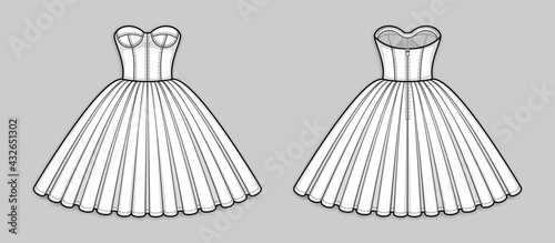 Fotografia Knee-length corset bodice dress with strapless neckline, panel lines and cups, seam at waist, back zip closure, full volume skirt