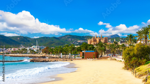Obraz na płótnie Panoramic view of Palma de Majorca, Mallorca, Balearic Islands, Spain