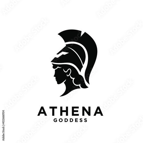 Fotografie, Obraz premium Athena the goddess black vector logo illustration design isolated backgr