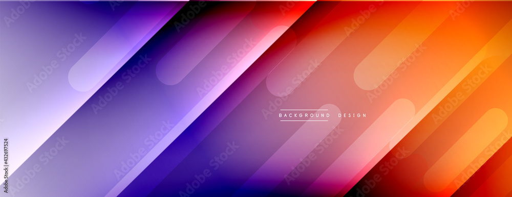 Dynamic lines abstract background. 3D shadow effects and fluid gradients. Modern overlapping forms - obrazy, fototapety, plakaty