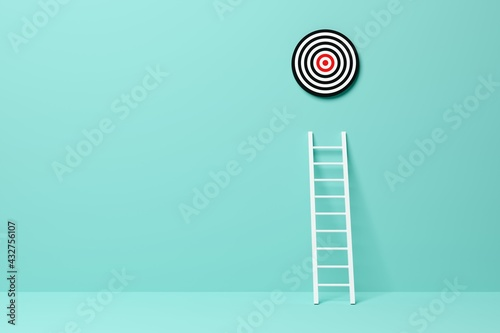 Ladder leading to goal target in blue room background, achievement, career goal or success concept