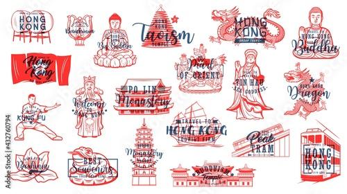 Fotografie, Obraz Hong Kong Buddhism symbols, travel landmarks vector icons