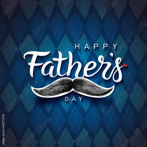 Happy Father's Day lettering phrase. Hand drawn Fathers day greeting text. White quote and black moustache. Prints, card design element. Moustache and repeating pattern background. Vector illustration