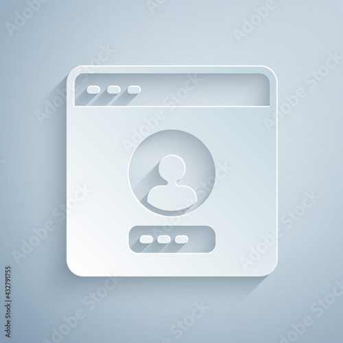 Canvastavla Paper cut Create account screen icon isolated on grey background