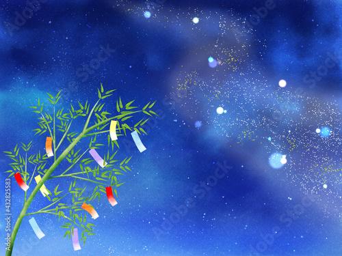 Fotografiet 夜空に流れる天の川と短冊が揺れる笹(ヨコ)