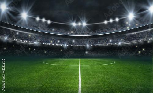 Canvastavla textured soccer game field with neon fog - center, midfield
