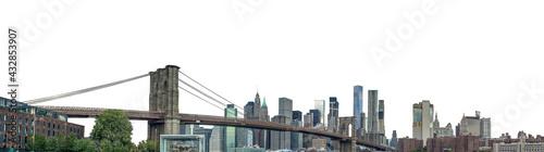 Foto The Brooklyn Bridge and Manhattan skyline (New York, USA) isolated on white back