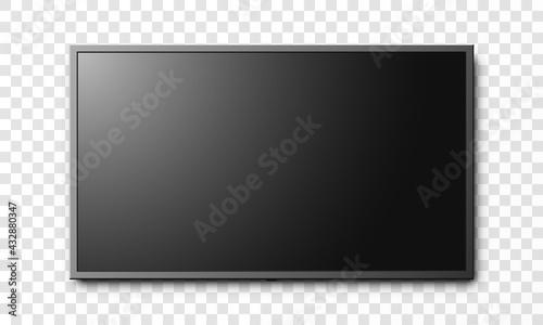 Fotografia Black flat screen LCD tv isolated on transparent background vector illustration