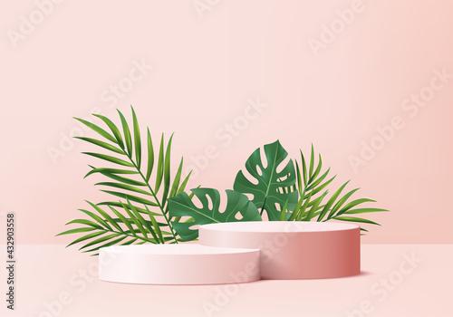 Slika na platnu 3d background products display podium scene with green leaf geometric platform