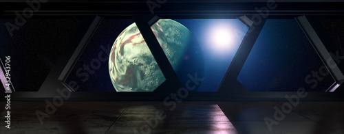 Fotografie, Obraz Space Station - view on a Planet out of a Space Station in orbit - 3D Rendering
