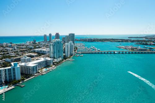 Obraz na płótnie Aerial drone view of Miami Beach from the intracoastal waterway