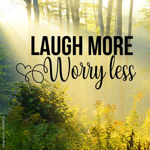 Canvas Print Laugh more worry less:Inspirational and motivational and quote Design in high-resolution, Quote for social media