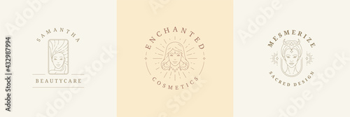 Stampa su Tela Feminine logos emblems design templates set with magic female portraits vector illustrations minimal linear style