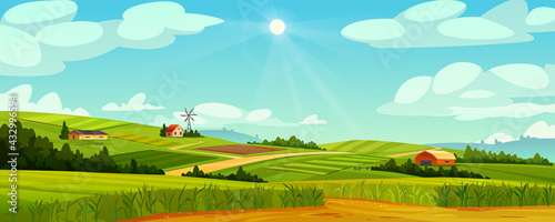 Foto Green fields landscape of farmland, barns and farms, rural houses and windmills