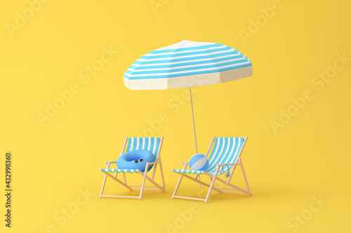 Photo Minimal scene of beach chairs and umbrella on yellow background, Summer concept, 3D rendering