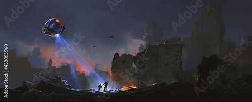 Canvastavla Trackers are hunting surviving humans in the ruins, sci-fi illustration