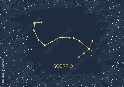 Hand drawn card of gold Scorpio, star, brush Fototapeta