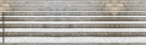 Slika na platnu Panorama of White marble staircase and outdoor Granite floor