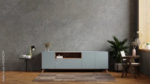 Fotografie, Obraz Living room interior have cabinet for tv in cement room with concrete wall