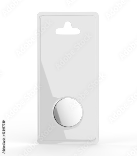 Tablou Canvas Button cell hang tab blister packaging blank template, 3d render illustration