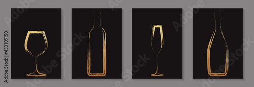 Fotografía Golden luxury bottles and glasses of wine and champagne in grunge style on a black background for tasting invitation or bar and restaurant menu or banner or logo