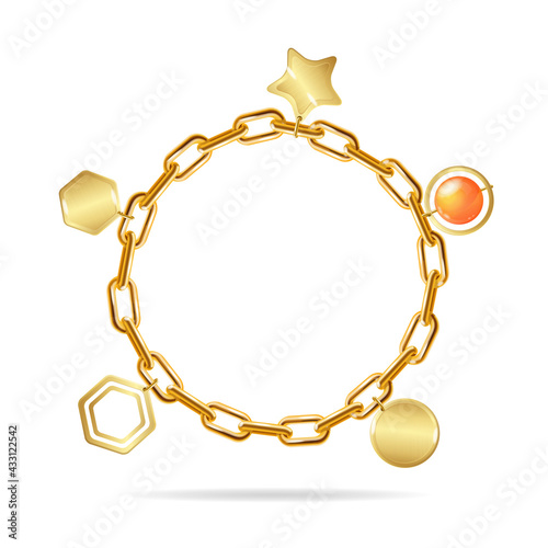 Fotomural Realistic Detailed 3d Gold Chain Bracelet with Pendants. Vector