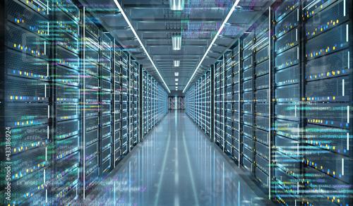Cuadros en Lienzo Server room data center - 3d rendering
