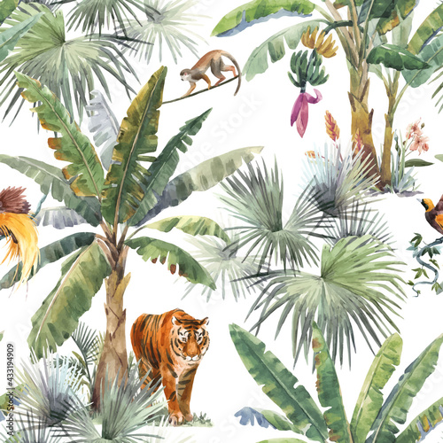 Carta da parati Beautiful vector seamless pattern with watercolor tropical palms and jungle animals tiger, giraffe, leopard