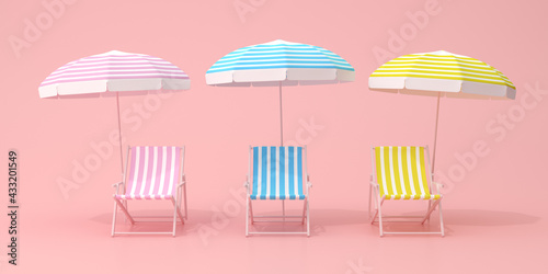 Fotografie, Obraz Minimal scene of beach chairs and umbrella on pink background, Various color, Summer concept, 3D rendering