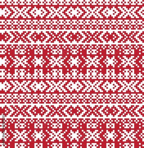 Fototapeta Christmas Fair Isle Seamless Pattern Background
