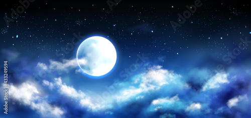 Canvas Print Full Moon Night Sky With Stars Clouds Scene