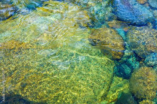 Fototapeta Crystal clear Pemigewasset River in spring