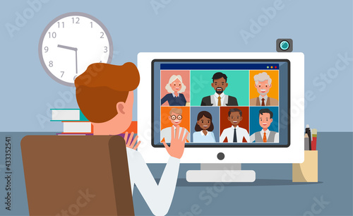 Photo Businessman meeting and training character vector design.