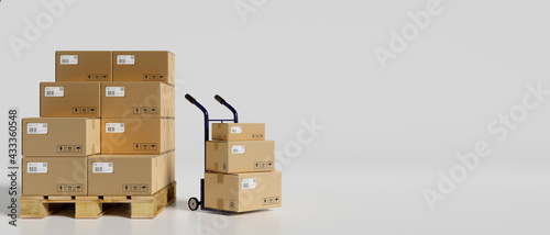 Fotografiet 3D rendering, heap of cardboard boxes in the warehouse with a cart in white back