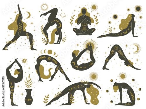 Magical yoga women. Mystical esoteric female silhouettes, minimalist meditating girls vector illustrations set. Yoga feminine contemporary concept