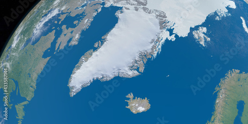 Canvas View of Greenland country, in the Artic with the atlantic ocean and Artic ocean