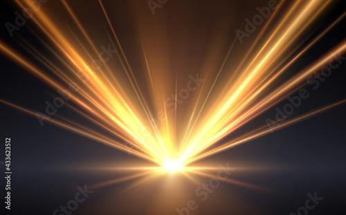 Obraz na płótnie Gold light rays effect background